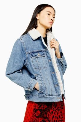 Topshop Womens Oversized Blue Denim Borg Lined Jacket - Mid Stone