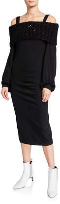 Brunello Cucinelli Off-the-Shoulder Blouson-Sleeve Wool Jersey Sheath Cocktail Dress