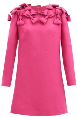 Valentino Bow-trim Wool-blend Cady Mini Dress - Pink
