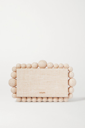 Cult Gaia Eos Beaded Woven Raffia Clutch - Sand