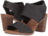 Toms Majorca Cutout Sandal (Black Denim) Women's Shoes