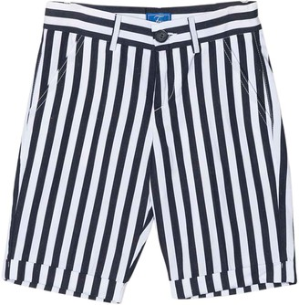 Fay White And Blue Striped Shorts