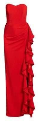 Badgley Mischka Strapless Ruffle Gown