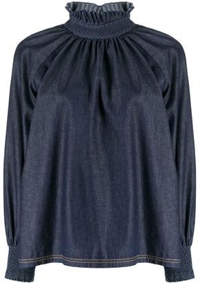 Fendi Ruffled-Collar Denim Top