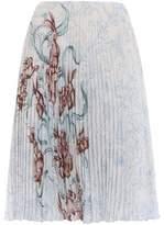 Prada Pleated Print Skirt