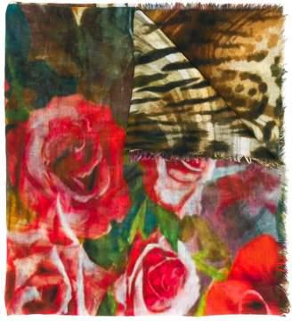 D'aniello floral animal print scarf