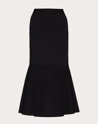 Valentino Stretch Viscose Knitted Skirt Women Black Viscose 83%, Polyester 17% M