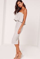 Missguided Frill Bandeau Midi Dress Grey