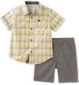 Calvin Klein 2-Pc. Plaid Cotton Shirt & Shorts Set, Baby Boys (0-24 months)