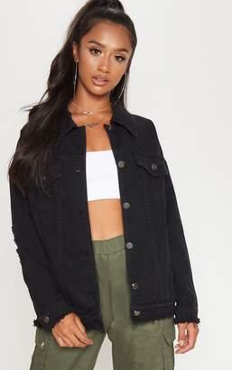 PrettyLittleThing Petite Black Distressed Oversized Denim Jacket