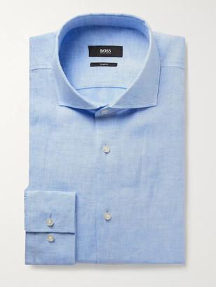 HUGO BOSS Blue Jason Slim-Fit Slub Linen Shirt