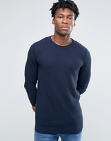 Pull&Bear Crew Neck Sweater In Navy