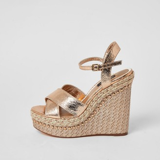 River Island Gold embellished wide fit wedge sandals