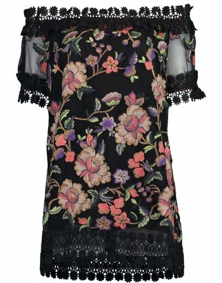 Naeem Khan Off Shoulder Floral Blouse