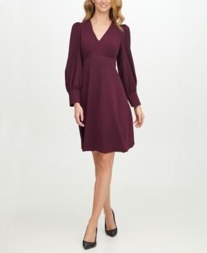 Calvin Klein Scuba-Crepe V-Neck A-Line Dress