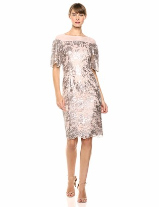Calvin Klein Women's Short Lace Sheath with Flutter Sleeves