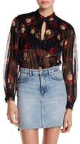 Lucky Brand Printed Keyhole Blouse