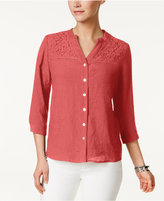 NY Collection Petite Lace-Trim Blouse
