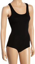 Black Scoop Neck Racerback Bodysuit
