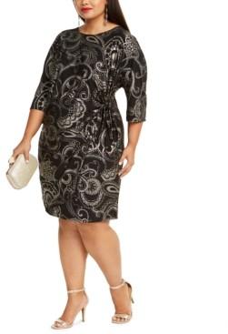 Robbie Bee Plus Size Foil-Print Side-Knot Dress