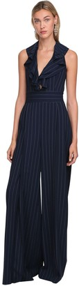 Ralph Lauren Collection Pinstripes Wool Twill Wide Leg Jumpsuit