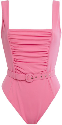 Nicholas Belted Ruched Stretch-pique Swimsuit