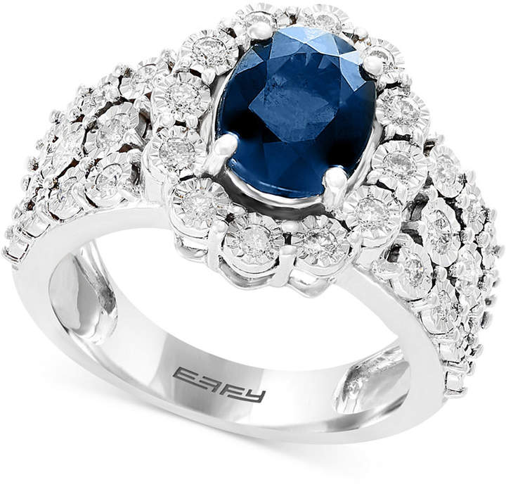 Effy Sapphire (1-9/10 ct. t.w.) & Diamond (1/2 ct. t.w.) Ring in 14k White Gold