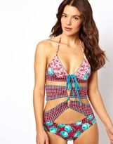 Maaji Jeweled Roses Cut Out Swimsuit