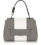 Furla Argilla, Petalo and Onyx Leather Capriccio Medium Top Handle Bag