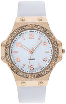 JCPenney FASHION WATCHES Womens Faux Leather Stone Accent Watch