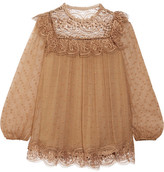 Zimmermann Meridian Circle Lace-paneled Embroidered Silk-crepon Blouse - Camel