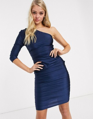AX Paris one shoulder ruched bodycon midi dress