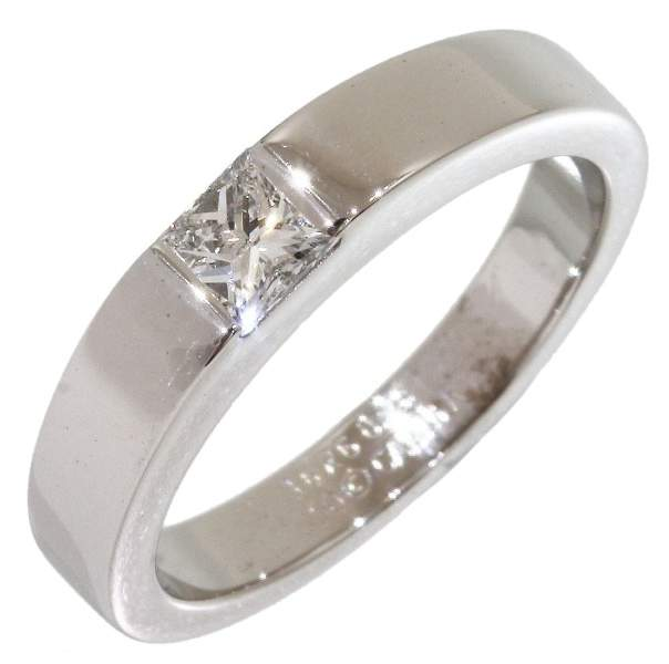 Cartier 18K White Gold 0.25ct Diamond Tank Solitaire Ring Size 4.75