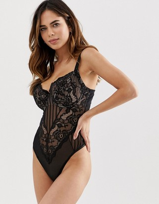 Asos Design DESIGN Fuller Bust Naomi lace underwired bodysuit-Black