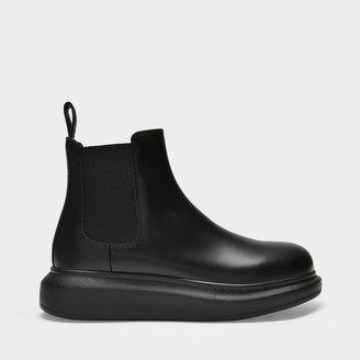 Alexander McQueen Chelsea Hybrid Boots In Black Leather