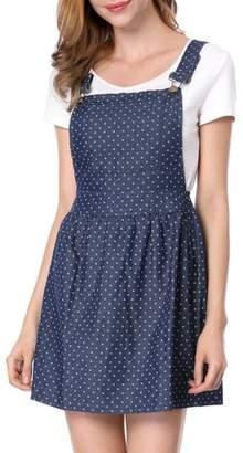 Unique Bargains Women's Polka Dots Pattern Suspender Mini Overall Dress Skirt