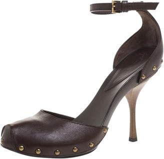 Giuseppe Zanotti Brown Leather Ankle Strap Platform Sandals Size 39