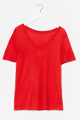 Nasty Gal Womens Low V Basic Soft Tee - Red