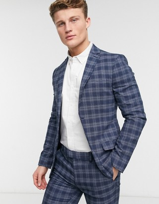 Topman check skinny suit jacket in blue