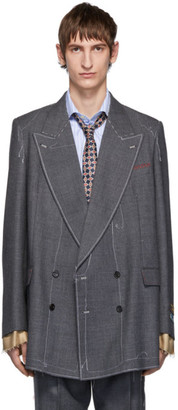 Gucci Grey Classic Sharkskin Double-Breasted Blazer