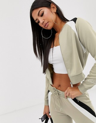 Couture The Club Club cropped panelled tracksuit sweater with logo sleeve detail