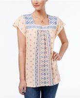Style&Co. Style & Co Mixed-Print Mesh-Bib Top, Created for Macy's