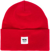 Wood Wood logo patch beanie hat