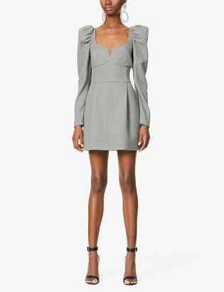 Magda Butrym Padded-shoulders wool and cashmere-blend dress