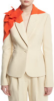 DELPOZO Colorblock Jacket w/Floral Applique, Natural White
