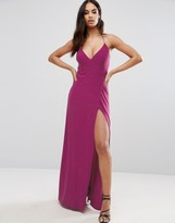 Club L Wrap Front Maxi Dress with Back Detail