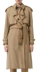 Burberry Double Breasted Gold Rings Trench Coat