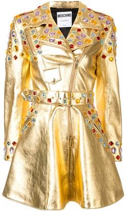 Moschino Crystal-Embellished Metallic Dress