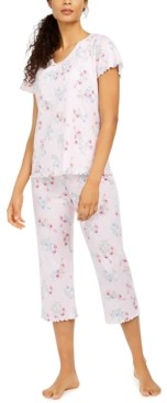 Miss Elaine Floral-Print Capri Pants Pajama Set