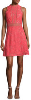 Rebecca Taylor Arella Sleeveless Lace Dress, Coral